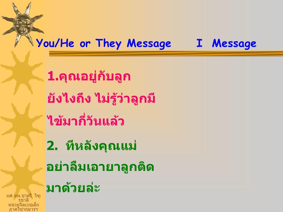 ผศ. นพ. ชาตรี วิฑู รชาติ หน่วยจิตเวชเด็ก ภาควิชากุมารฯ ศิริราชพยายบาล You/He or They Message I Message 1. คุณอยู่กับลูก ยังไงถึง ไม่รู้ว่าลูกมี ไข้มาก