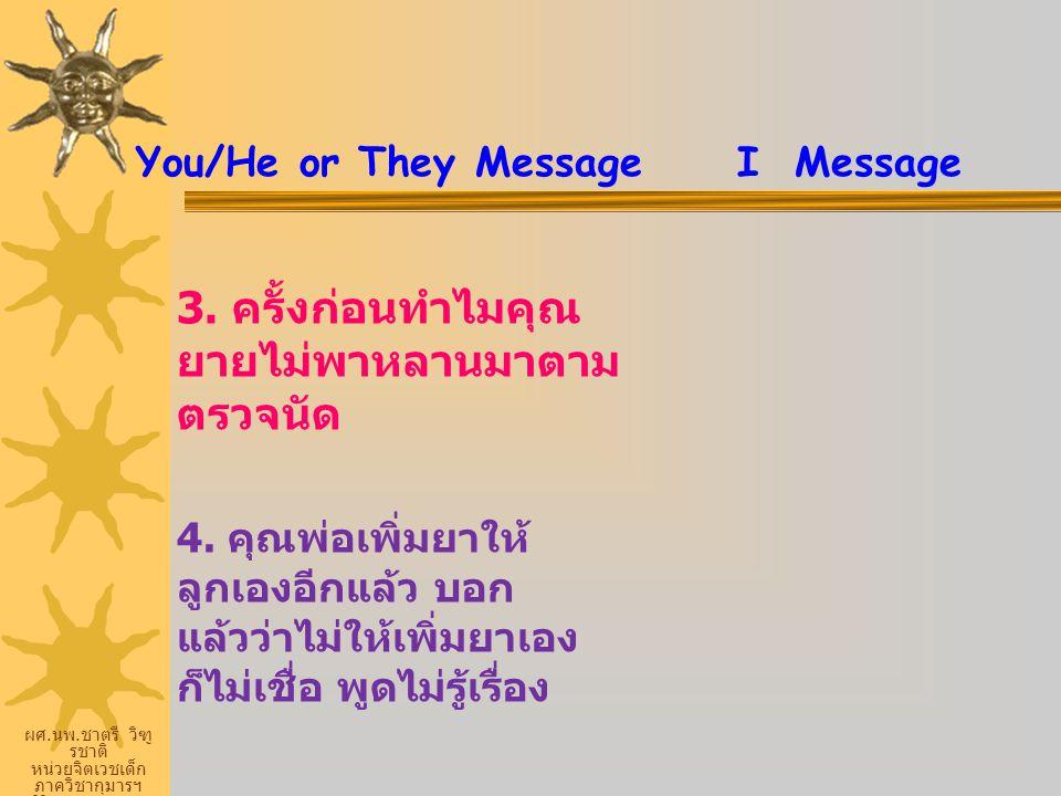 ผศ. นพ. ชาตรี วิฑู รชาติ หน่วยจิตเวชเด็ก ภาควิชากุมารฯ ศิริราชพยายบาล You/He or They Message I Message 3. ครั้งก่อนทำไมคุณ ยายไม่พาหลานมาตาม ตรวจนัด 4