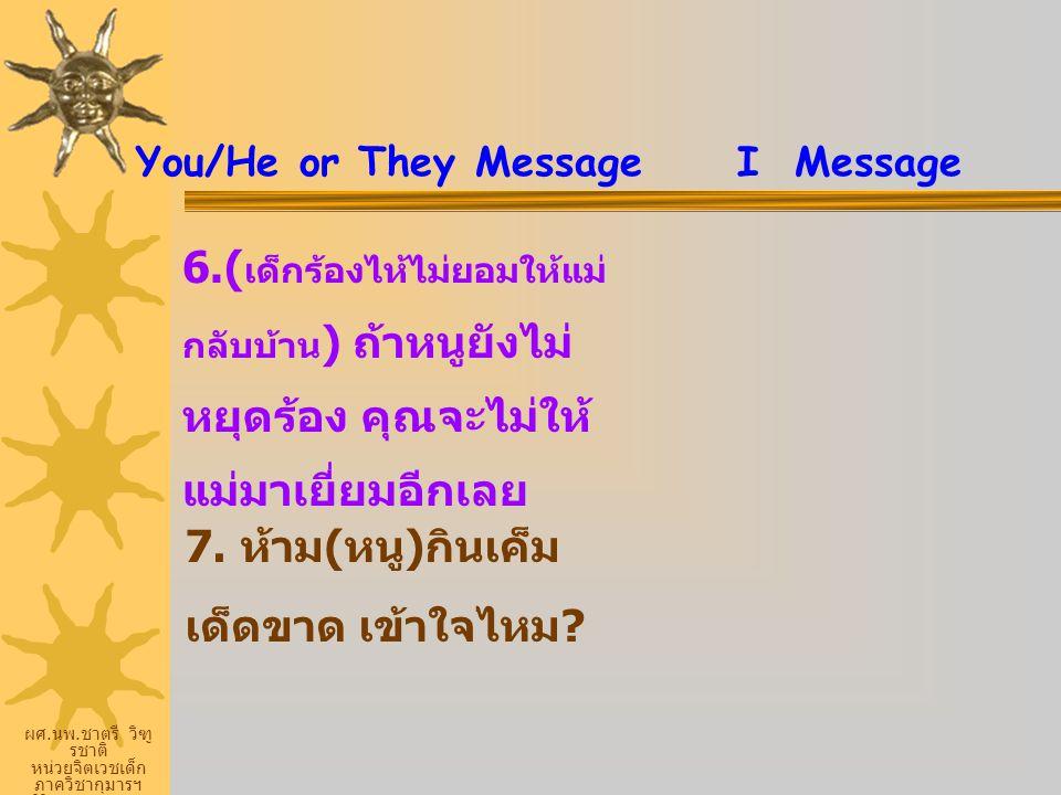 ผศ. นพ. ชาตรี วิฑู รชาติ หน่วยจิตเวชเด็ก ภาควิชากุมารฯ ศิริราชพยายบาล You/He or They Message I Message 6.( เด็กร้องไห้ไม่ยอมให้แม่ กลับบ้าน ) ถ้าหนูยั