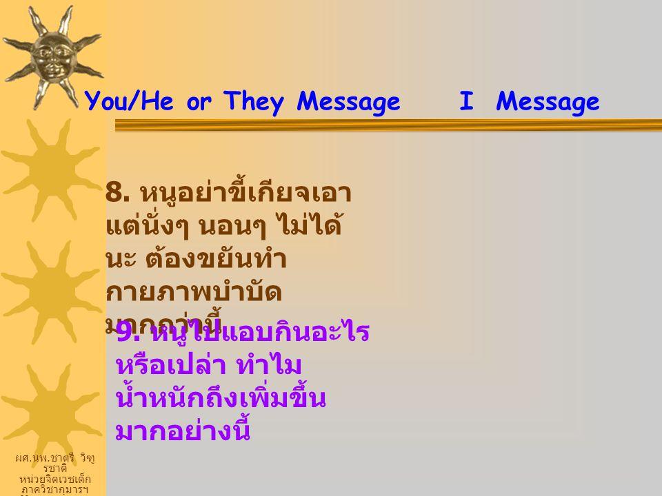 ผศ. นพ. ชาตรี วิฑู รชาติ หน่วยจิตเวชเด็ก ภาควิชากุมารฯ ศิริราชพยายบาล You/He or They Message I Message 8. หนูอย่าขี้เกียจเอา แต่นั่งๆ นอนๆ ไม่ได้ นะ ต