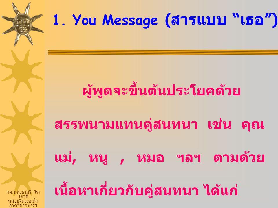 """ผศ. นพ. ชาตรี วิฑู รชาติ หน่วยจิตเวชเด็ก ภาควิชากุมารฯ ศิริราชพยายบาล 1. You Message ( สารแบบ """" เธอ """") ผู้พูดจะขึ้นต้นประโยคด้วย สรรพนามแทนคู่สนทนา เช"""