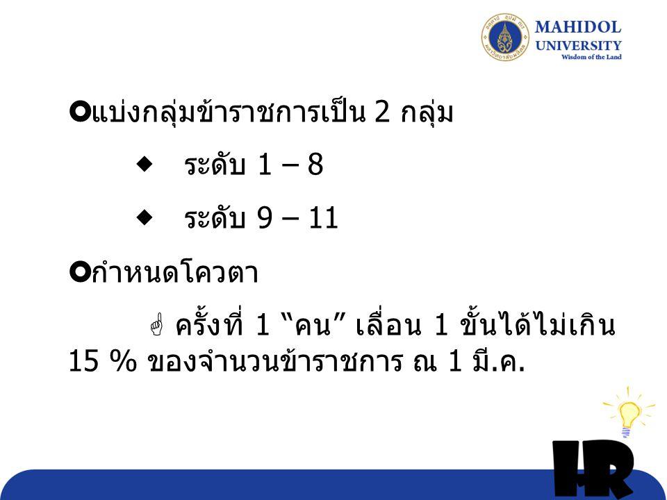 """ แบ่งกลุ่มข้าราชการเป็น 2 กลุ่ม  ระดับ 1 – 8  ระดับ 9 – 11  กำหนดโควตา  ครั้งที่ 1 """" คน """" เลื่อน 1 ขั้นได้ไม่เกิน 15 % ของจำนวนข้าราชการ ณ 1 มี."""