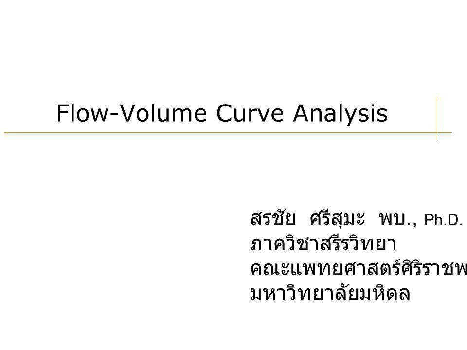 สรชัย ศรีสุมะ พบ., Ph.D. ภาควิชาสรีรวิทยา คณะแพทยศาสตร์ศิริราชพยาบาล มหาวิทยาลัยมหิดล Flow-Volume Curve Analysis