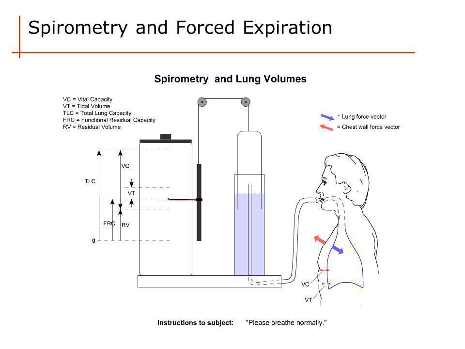 Forced Expiratory Spirogram FEV 1 (Forced expiratory volume in 1 second) FVC (Forced vital capacity) FEV 1 /FVC (Ratio FEV 1 over FVC)  Normal FEV 1 /FVC ~ 0.8 or 80%