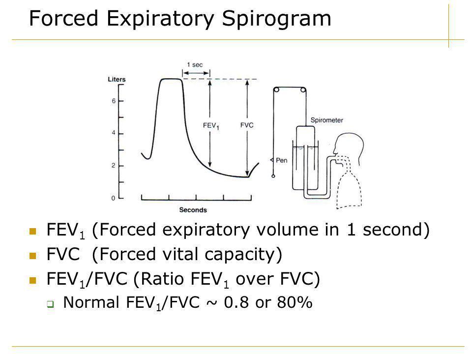 Forced Expiratory Spirogram FEV 1 (Forced expiratory volume in 1 second) FVC (Forced vital capacity) FEV 1 /FVC (Ratio FEV 1 over FVC)  Normal FEV 1