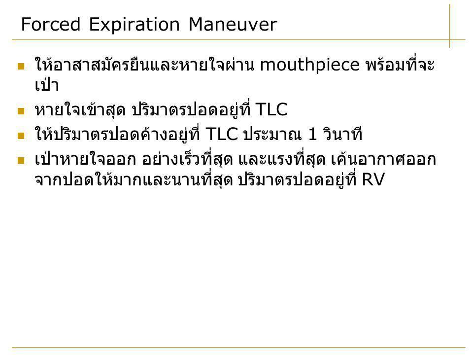 Forced Expiration Maneuver ให้อาสาสมัครยืนและหายใจผ่าน mouthpiece พร้อมที่จะ เป่า หายใจเข้าสุด ปริมาตรปอดอยู่ที่ TLC ให้ปริมาตรปอดค้างอยู่ที่ TLC ประม