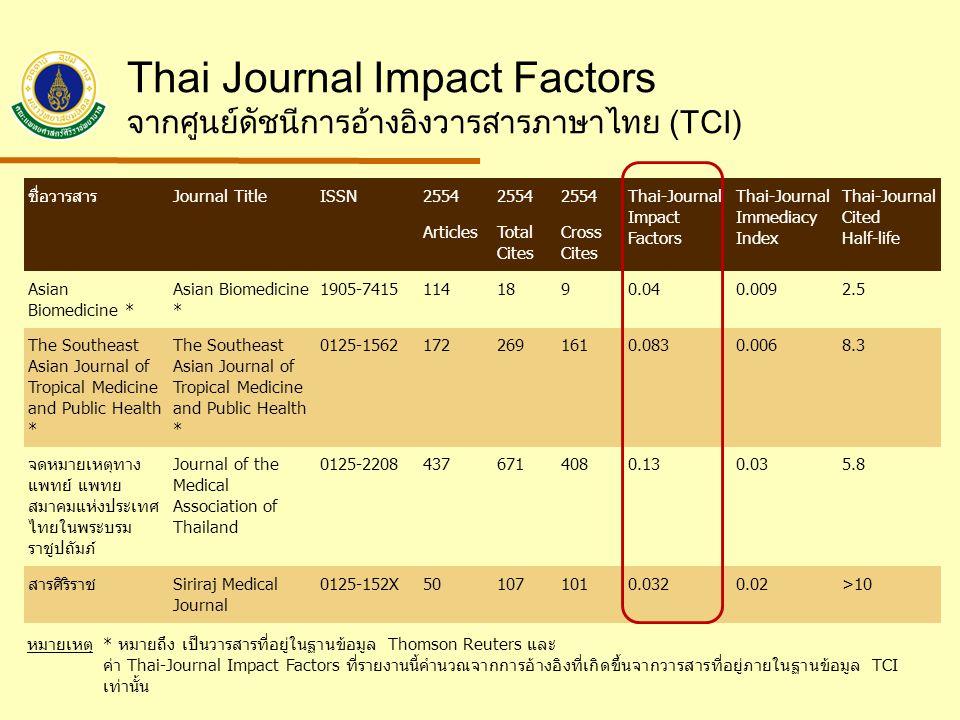 Thai Journal Impact Factors จากศูนย์ดัชนีการอ้างอิงวารสารภาษาไทย (TCI) ชื่อวารสารJournal TitleISSN2554 Thai-Journal Impact Factors Thai-Journal Immediacy Index Thai-Journal Cited Half-life ArticlesTotal Cites Cross Cites Asian Biomedicine * 1905-74151141890.040.0092.5 The Southeast Asian Journal of Tropical Medicine and Public Health * 0125-15621722691610.0830.0068.3 จดหมายเหตุทาง แพทย์ แพทย สมาคมแห่งประเทศ ไทยในพระบรม ราชูปถัมภ์ Journal of the Medical Association of Thailand 0125-22084376714080.130.035.8 สารศิริราชSiriraj Medical Journal 0125-152X501071010.0320.02>10 หมายเหตุ* หมายถึง เป็นวารสารที่อยู่ในฐานข้อมูล Thomson Reuters และ ค่า Thai-Journal Impact Factors ที่รายงานนี้คำนวณจากการอ้างอิงที่เกิดขึ้นจากวารสารที่อยู่ภายในฐานข้อมูล TCI เท่านั้น