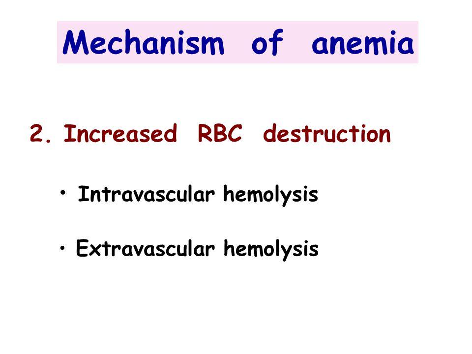 2. Increased RBC destruction Intravascular hemolysis Extravascular hemolysis Mechanism of anemia