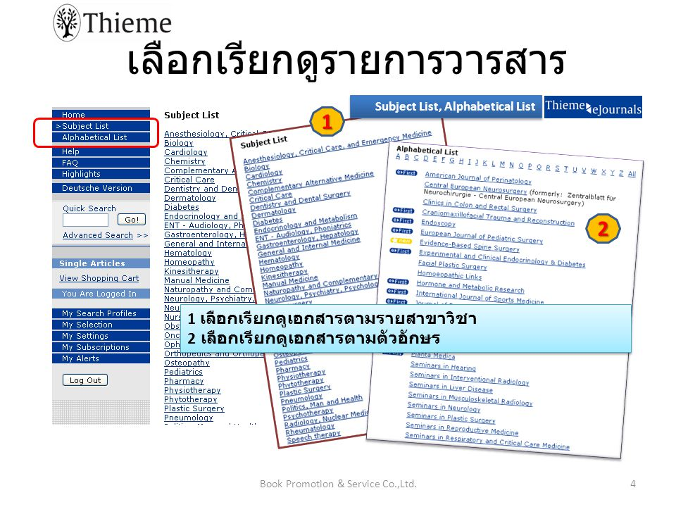 เลือกสืบค้นบทความด้วยคำค้น (Quick Search) และผลการสืบค้น 5Book Promotion & Service Co.,Ltd.
