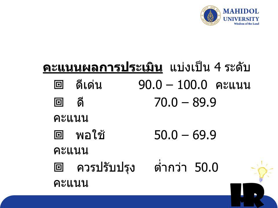 คะแนนผลการประเมิน คะแนนผลการประเมิน แบ่งเป็น 4 ระดับ  ดีเด่น 90.0 – 100.0 คะแนน  ดี 70.0 – 89.9 คะแนน  พอใช้ 50.0 – 69.9 คะแนน  ควรปรับปรุง ต่ำกว่