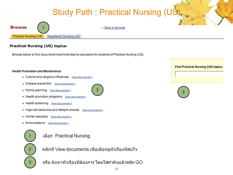 13 Study Path : Practical Nursing (US) 3 2 1 3 2 1 หรือ ค้นหาหัวเรื่องที่ต้องการ โดยใส่คำค้นแล้วคลิก GO คลิกที่ View documents เพื่อเลือกดูหัวเรื่องที