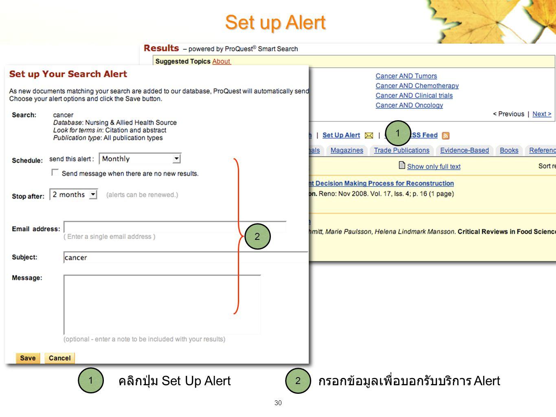 30 Set up Alert กรอกข้อมูลเพื่อบอกรับบริการ Alert คลิกปุ่ม Set Up Alert 2 1 2 1