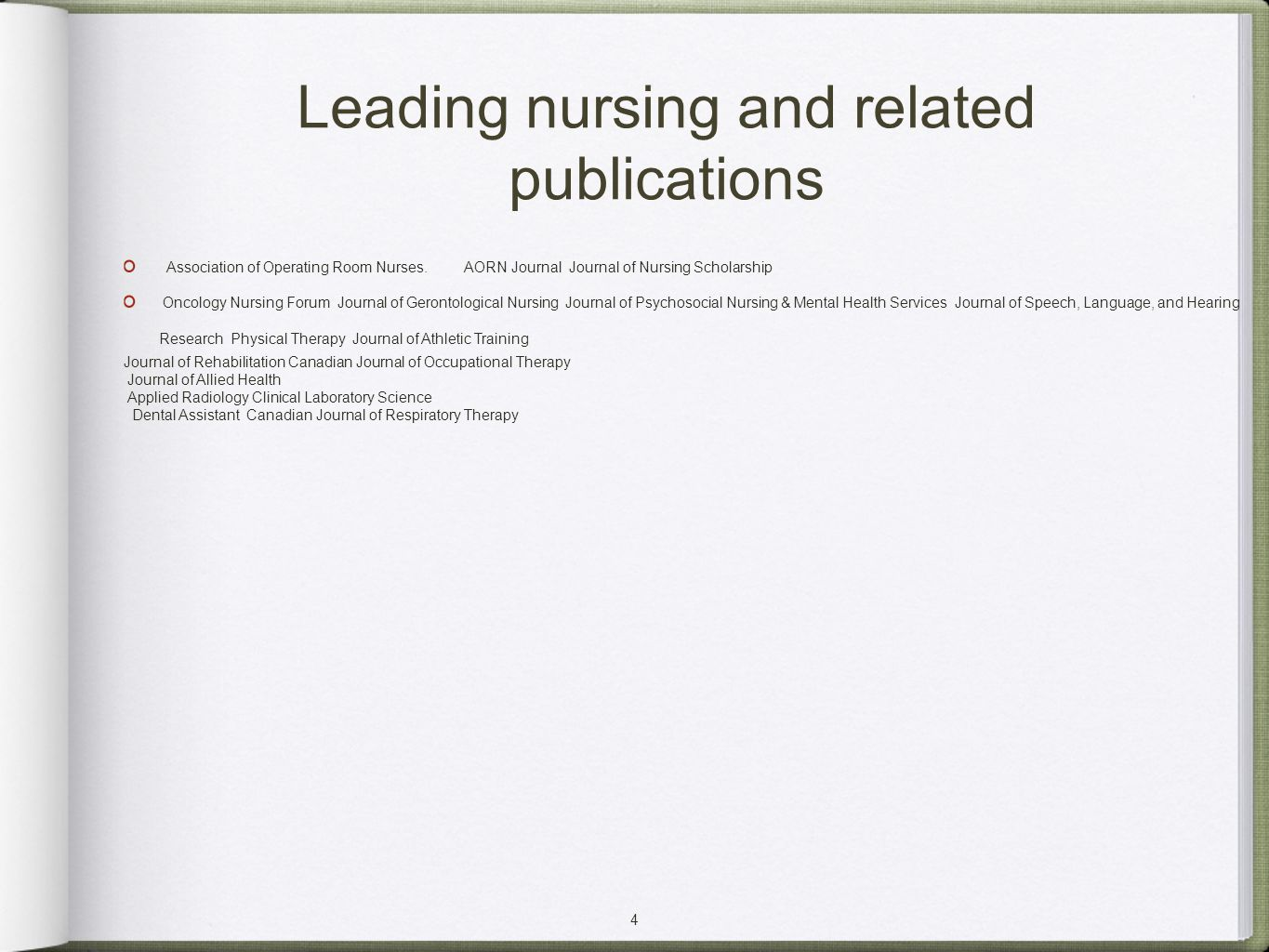 4 Leading nursing and related publications Association of Operating Room Nurses. AORN Journal Journal of Nursing Scholarship Oncology Nursing Forum Jo