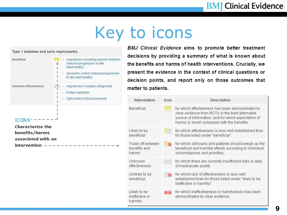 9 Key to icons BMJ Clinical Evidence aims to promote better treatment decisions by providing a summary of what is known about the benefits and harms of health interventions.