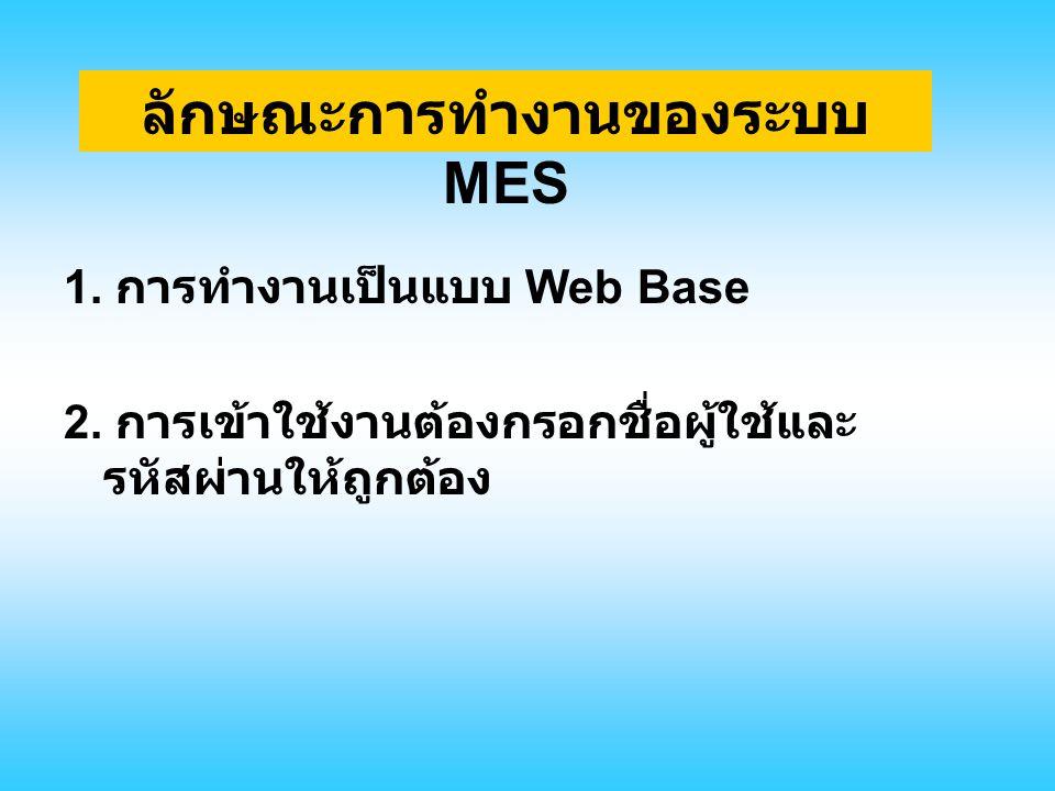 ลักษณะการทำงานของระบบ MES 1. การทำงานเป็นแบบ Web Base 2. การเข้าใช้งานต้องกรอกชื่อผู้ใช้และ รหัสผ่านให้ถูกต้อง