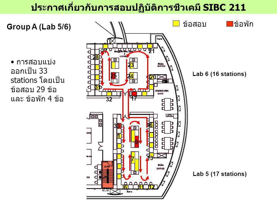 ประกาศเกี่ยวกับการสอบปฏิบัติการชีวเคมี SIBC 211 Group B (Lab 3/4) ข้อสอบข้อพัก Lab 3 (17 stations) Lab 4 (16 stations) 1 5 6 8 10 11 32 9 12 15 16 33 17 18 20 21 22 7 23 24 25 26 27 28 30 การสอบแบ่ง ออกเป็น 33 stations โดยเป็น ข้อสอบ 29 ข้อ และ ข้อพัก 4 ข้อ