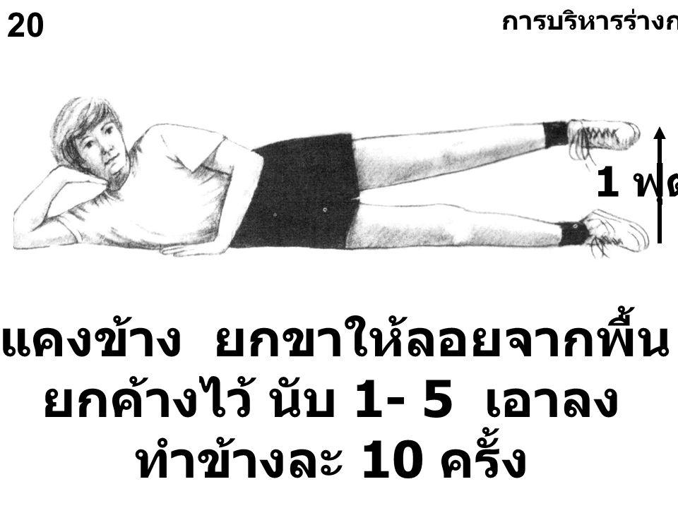 20 นอนตะแคงข้าง ยกขาให้ลอยจากพื้น 1 ฟุต ยกค้างไว้ นับ 1- 5 เอาลง ทำข้างละ 10 ครั้ง 1 ฟุต การบริหารร่างกายทั่วไป