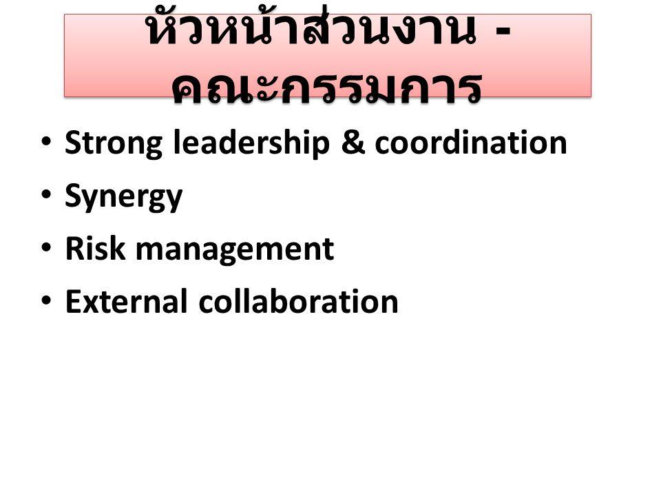 หัวหน้าส่วนงาน - คณะกรรมการ Strong leadership & coordination Synergy Risk management External collaboration