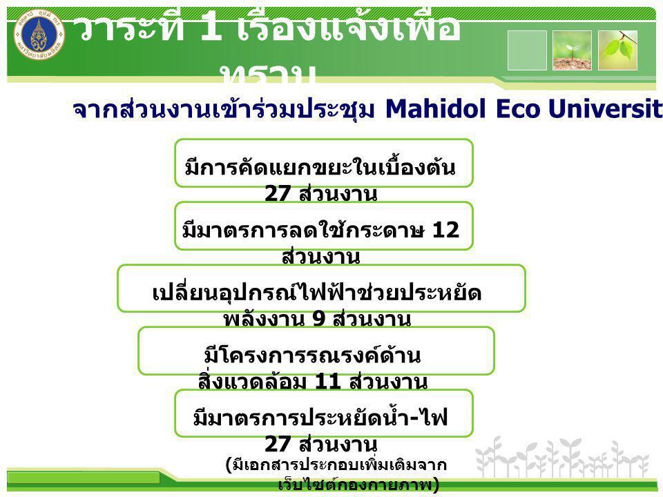 www.themegallery.com มีการคัดแยกขยะในเบื้องต้น 27 ส่วนงาน เปลี่ยนอุปกรณ์ไฟฟ้าช่วยประหยัด พลังงาน 9 ส่วนงาน มีมาตรการประหยัดน้ำ - ไฟ 27 ส่วนงาน มีมาตรการลดใช้กระดาษ 12 ส่วนงาน มีโครงการรณรงค์ด้าน สิ่งแวดล้อม 11 ส่วนงาน จากส่วนงานเข้าร่วมประชุม Mahidol Eco University ครั้งที่ 1/2555 วาระที่ 1 เรื่องแจ้งเพื่อ ทราบ ( มีเอกสารประกอบเพิ่มเติมจาก เว็บไซต์กองกายภาพ )