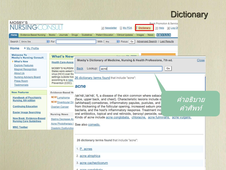 Dictionary คำอธิบาย คำศัพท์