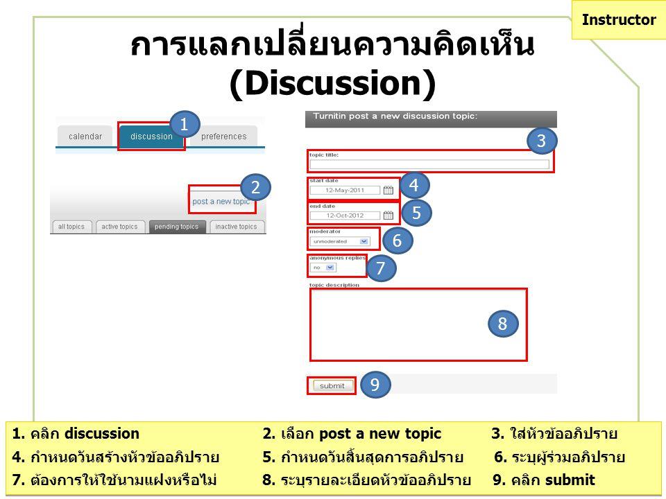 การแลกเปลี่ยนความคิดเห็น (Discussion) 1. คลิก discussion 2. เลือก post a new topic 3. ใส่หัวข้ออภิปราย 4. กำหนดวันสร้างหัวข้ออภิปราย 5. กำหนดวันสิ้นสุ