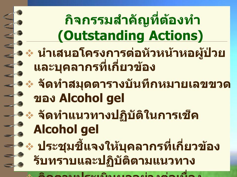 กิจกรรมสำคัญที่ต้องทำ (Outstanding Actions)  นำเสนอโครงการต่อหัวหน้าหอผู้ป่วย และบุคลากรที่เกี่ยวข้อง  จัดทำสมุดตารางบันทึกหมายเลขขวด ของ Alcohol gel  จัดทำแนวทางปฏิบัติในการเช็ค Alcohol gel  ประชุมชี้แจงให้บุคลากรที่เกี่ยวข้อง รับทราบและปฏิบัติตามแนวทาง  ติดตามประเมินผลอย่างต่อเนื่อง