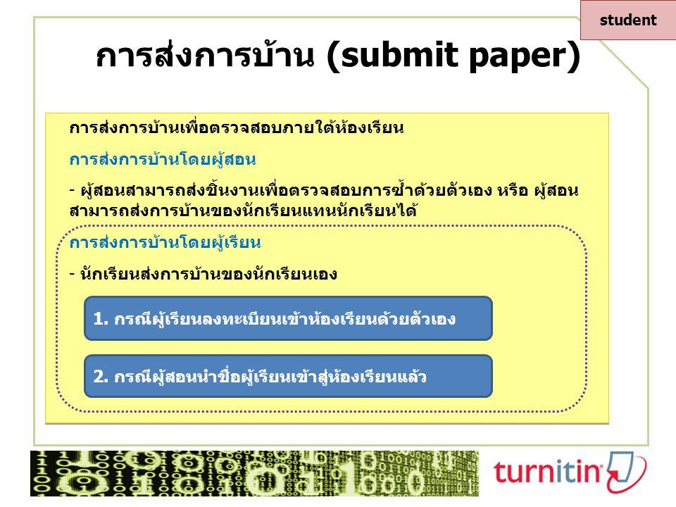 การส่งการบ้าน (submit paper) กรณี 2 การส่งการบ้านโดยผู้เรียน 1.