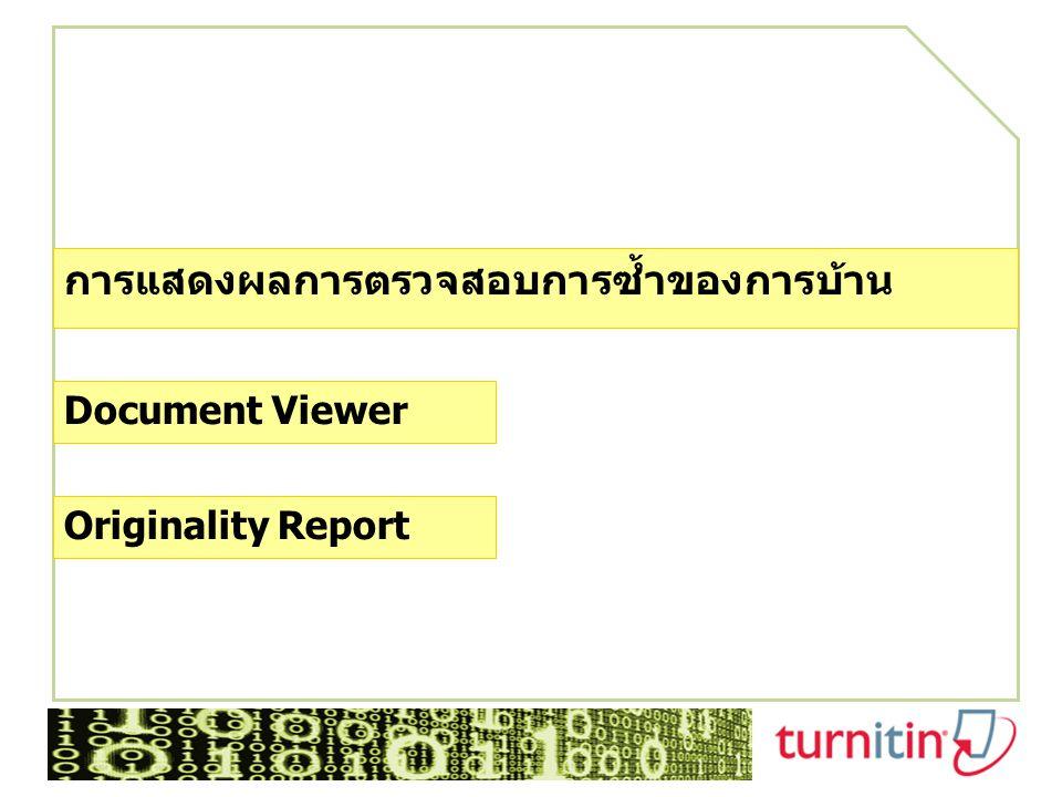 การแสดงผลการตรวจสอบการซ้ำของการบ้าน Document Viewer Originality Report