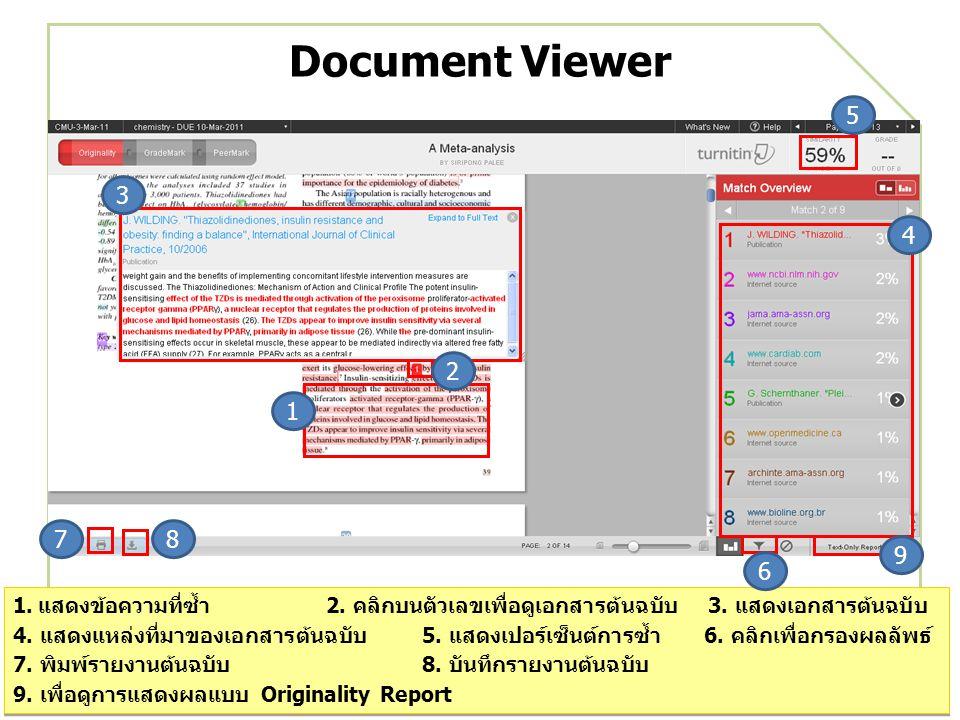 Document Viewer 1.แสดงข้อความที่ซ้ำ 2. คลิกบนตัวเลขเพื่อดูเอกสารต้นฉบับ 3.
