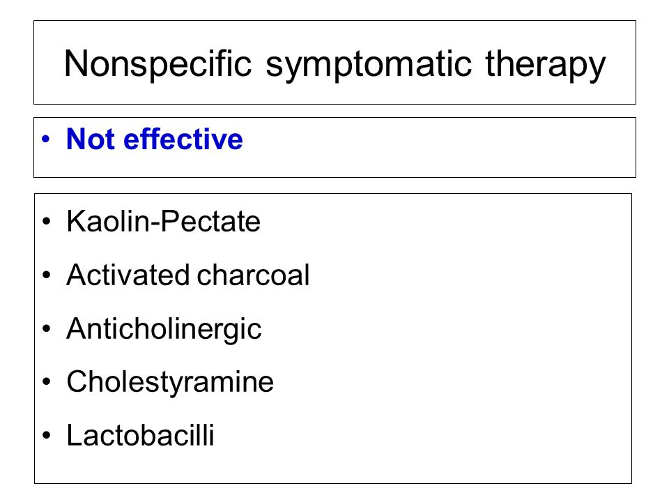 Nonspecific symptomatic therapy Not effective Kaolin-Pectate Activated charcoal Anticholinergic Cholestyramine Lactobacilli