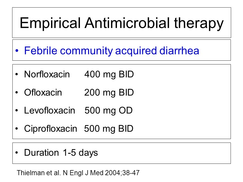 Febrile community acquired diarrhea Empirical Antimicrobial therapy Norfloxacin 400 mg BID Ofloxacin 200 mg BID Levofloxacin 500 mg OD Ciprofloxacin 5