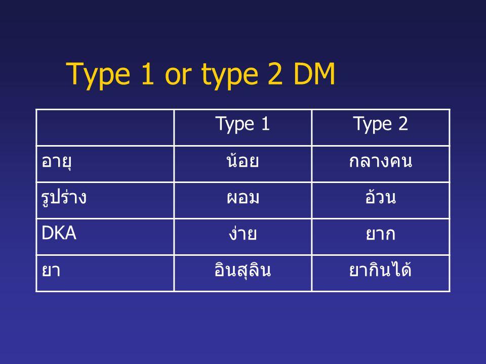Type 1 or type 2 DM Type 1Type 2 อายุน้อยกลางคน รูปร่างผอมอ้วน DKAง่ายยาก ยาอินสุลินยากินได้