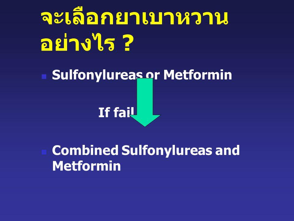 จะเลือกยาเบาหวาน อย่างไร ? Sulfonylureas or Metformin If fail Combined Sulfonylureas and Metformin