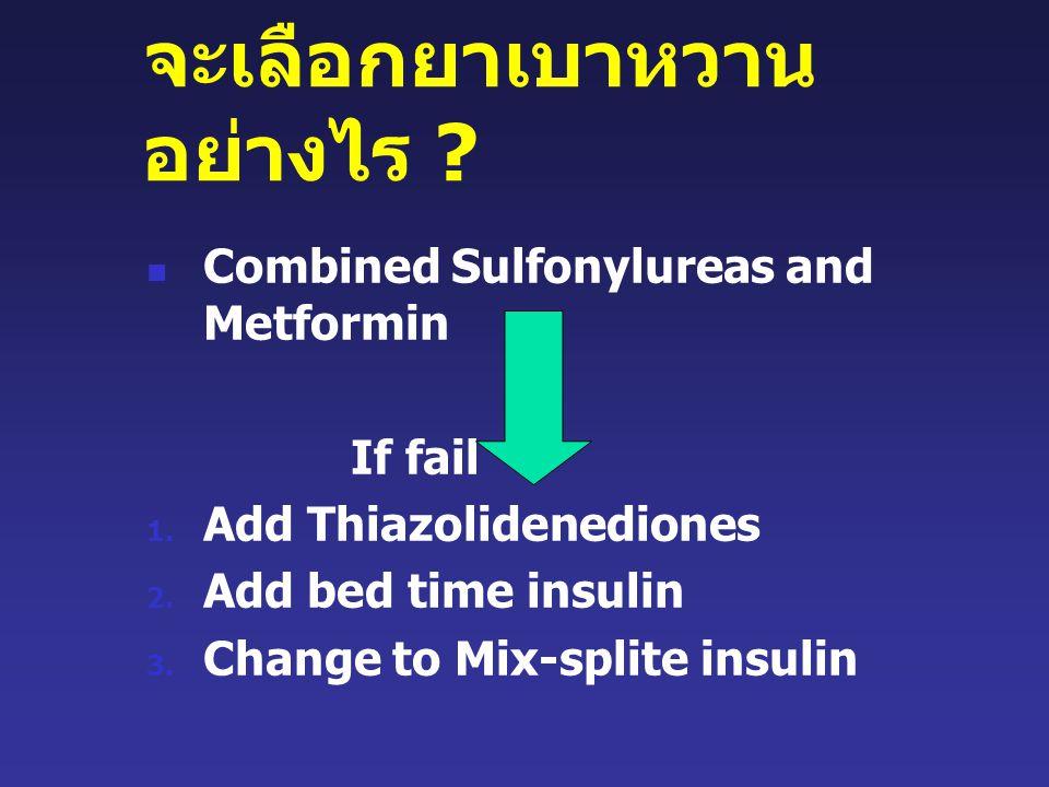 จะเลือกยาเบาหวาน อย่างไร .Combined Sulfonylureas and Metformin If fail 1.