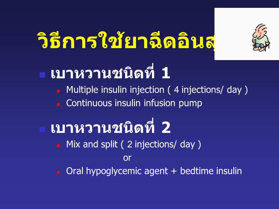วิธีการใช้ยาฉีดอินสุลิน เบาหวานชนิดที่ 1 Multiple insulin injection ( 4 injections/ day ) Continuous insulin infusion pump เบาหวานชนิดที่ 2 Mix and split ( 2 injections/ day ) or Oral hypoglycemic agent + bedtime insulin