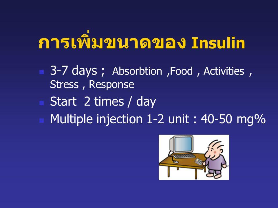 การเพิ่มขนาดของ Insulin 3-7 days ; Absorbtion,Food, Activities, Stress, Response Start 2 times / day Multiple injection 1-2 unit : 40-50 mg%