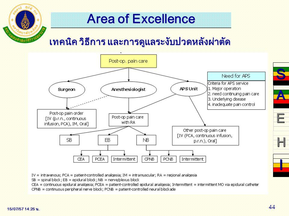 15/07/57 14:28 น. 44 เทคนิค วิธีการ และการดูแลระงับปวดหลังผ่าตัด S S E E H H I I A A Area of Excellence