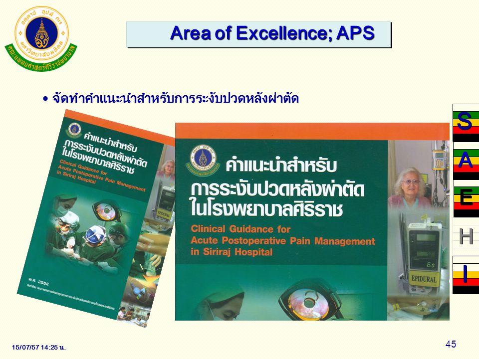 15/07/57 14:28 น. 45 Area of Excellence; APS จัดทำคำแนะนำสำหรับการระงับปวดหลังผ่าตัด S S H H I I A A E E