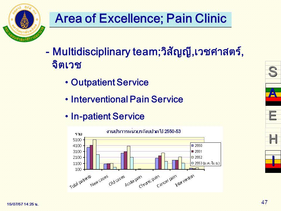 15/07/57 14:28 น. 47 - Multidisciplinary team;วิสัญญี,เวชศาสตร์, จิตเวช Outpatient Service Interventional Pain Service In-patient Service - Multidisci