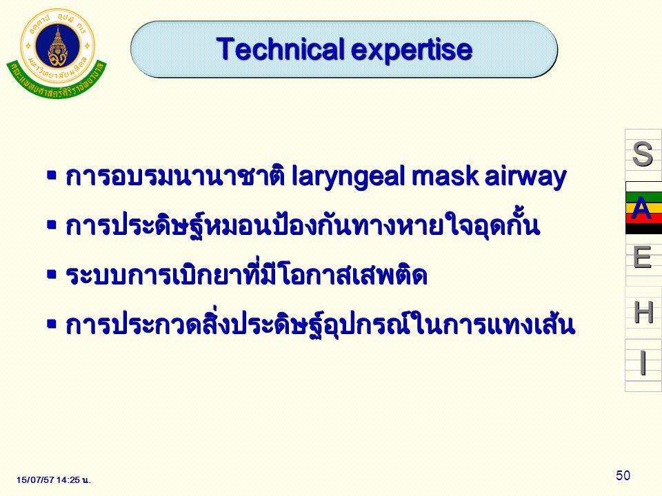15/07/57 14:28 น. 50  การอบรมนานาชาติ laryngeal mask airway  การประดิษฐ์หมอนป้องกันทางหายใจอุดกั้น  ระบบการเบิกยาที่มีโอกาสเสพติด  การประกวดสิ่งปร