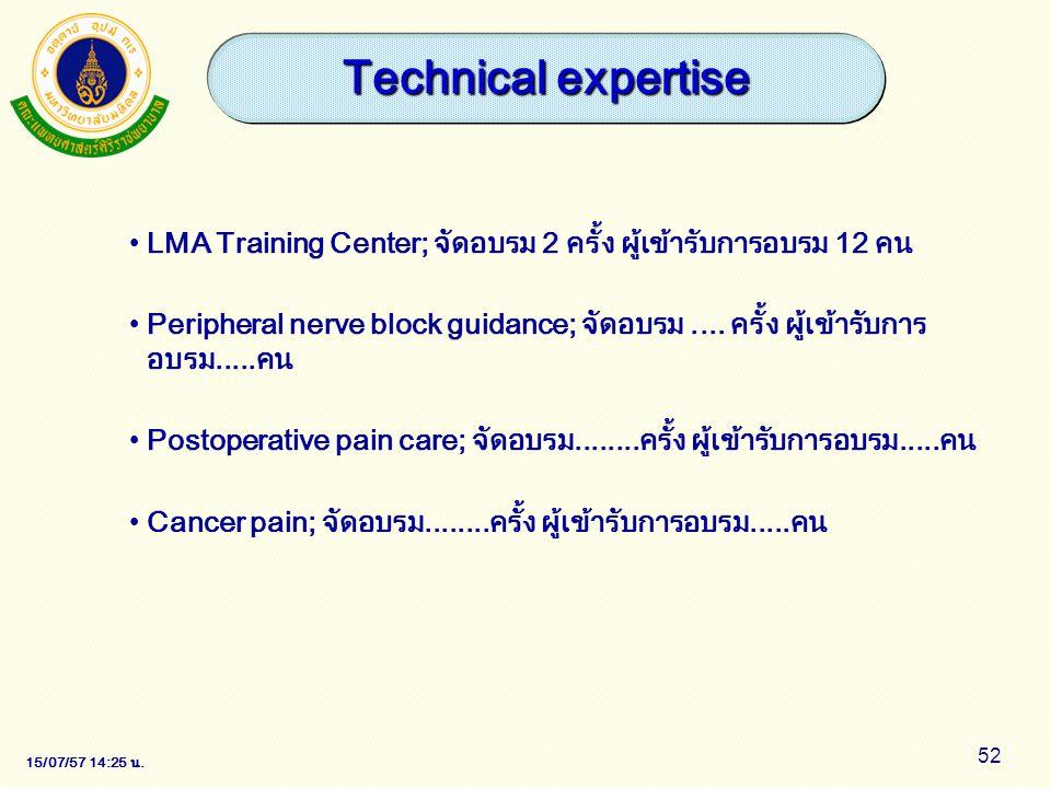 15/07/57 14:28 น. 52 LMA Training Center; จัดอบรม 2 ครั้ง ผู้เข้ารับการอบรม 12 คน Peripheral nerve block guidance; จัดอบรม.... ครั้ง ผู้เข้ารับการ อบร