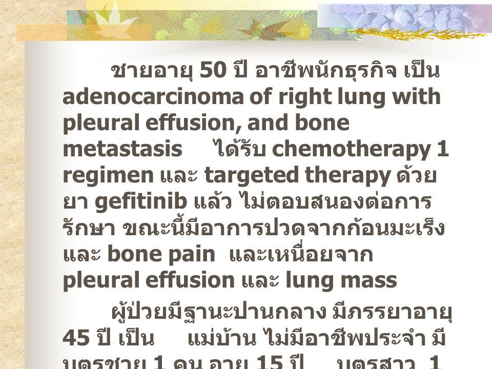 ชายอายุ 50 ปี อาชีพนักธุรกิจ เป็น adenocarcinoma of right lung with pleural effusion, and bone metastasis ได้รับ chemotherapy 1 regimen และ targeted therapy ด้วย ยา gefitinib แล้ว ไม่ตอบสนองต่อการ รักษา ขณะนี้มีอาการปวดจากก้อนมะเร็ง และ bone pain และเหนื่อยจาก pleural effusion และ lung mass ผู้ป่วยมีฐานะปานกลาง มีภรรยาอายุ 45 ปี เป็น แม่บ้าน ไม่มีอาชีพประจำ มี บุตรชาย 1 คน อายุ 15 ปี บุตรสาว 1 คน อายุ 13 ปี เรียนหนังสืออยู่ ผู้ป่วยไม่มี พี่น้อง บิดาและมารดาเสียชีวิตแล้ว