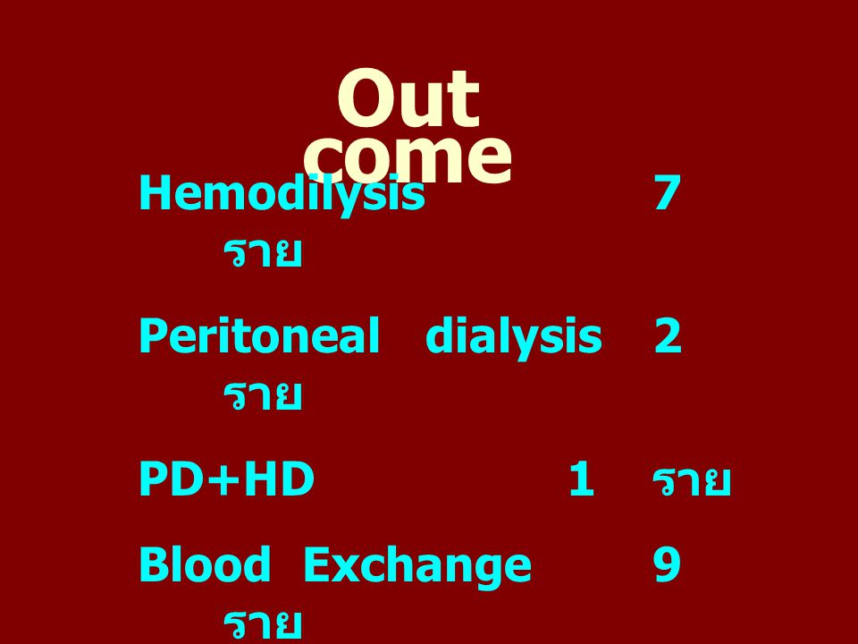 Out come Hemodilysis7 ราย Peritoneal dialysis2 ราย PD+HD1 ราย Blood Exchange9 ราย ใส่ Tube on respirator 18 ราย