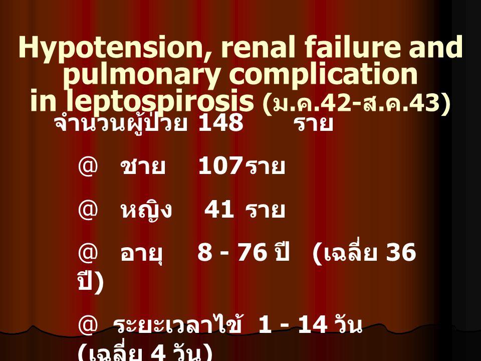 การรักษา Specific : PGS 2 mu IV ทุก 6 ชม.X 7 วัน : Add Ceftriaxone 2 gm IV OD ( ถ้ามี clinical sepsis) Supportive : Hypotension : Thrombocytopenia c bleeding : Acute renal failure : Respiratory failure : Hyperbilirubinemia