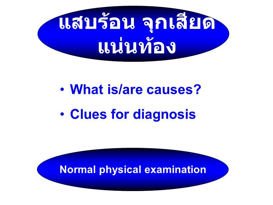 แสบร้อน จุกเสียด แน่นท้อง What is/are causes? Clues for diagnosis Normal physical examination