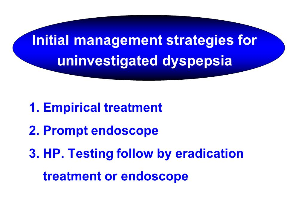 Initial management strategies for uninvestigated dyspepsia 1. Empirical treatment 2. Prompt endoscope 3. HP. Testing follow by eradication treatment o