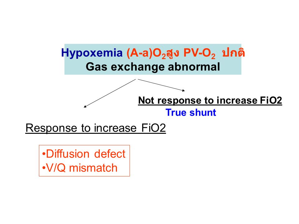 Hypoxemia (A-a)O 2 สูง PV-O 2 ปกติ Gas exchange abnormal Response to increase FiO2 Not response to increase FiO2 True shunt Diffusion defect V/Q mismatch