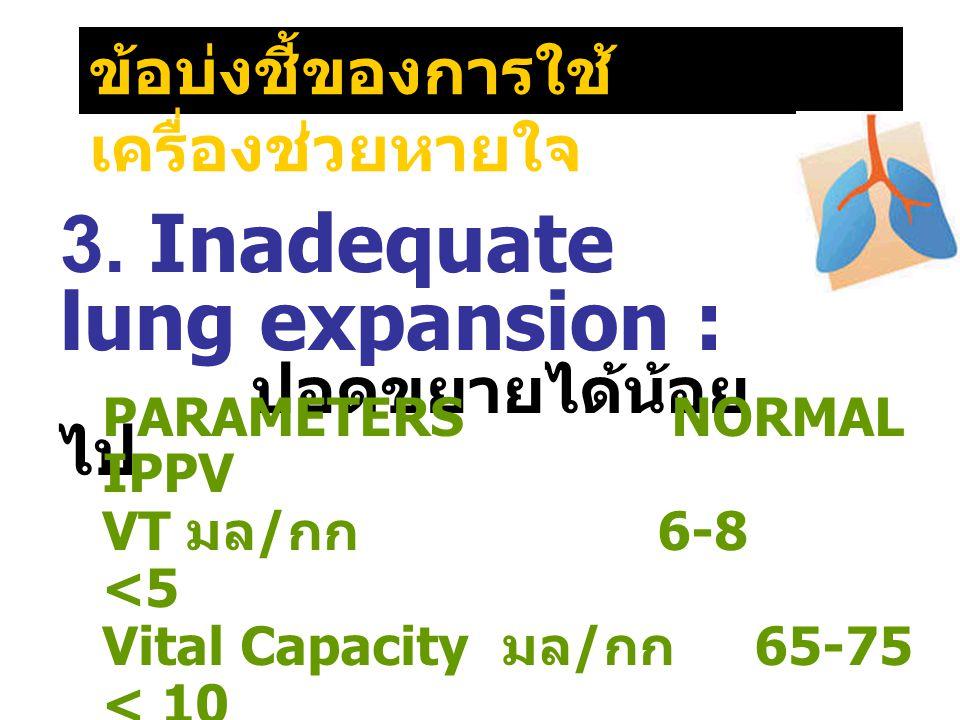 ข้อบ่งชี้ของการใช้ เครื่องช่วยหายใจ 3. Inadequate lung expansion : ปอดขยายได้น้อย ไป PARAMETERS NORMAL IPPV VT มล / กก 6-8 <5 Vital Capacity มล / กก 6