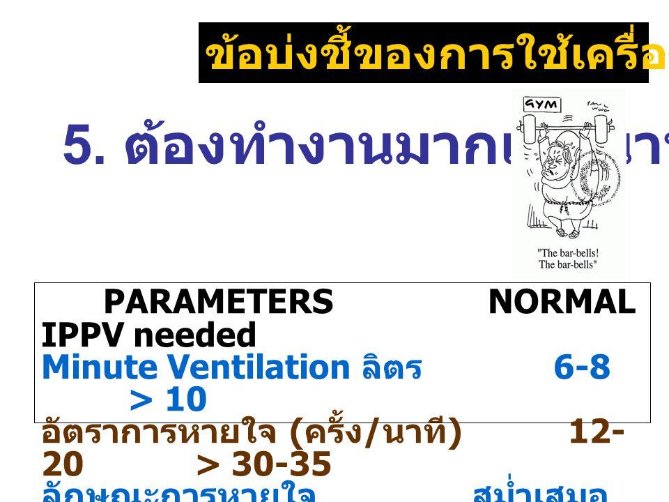 ข้อบ่งชี้ของการใช้เครื่องช่วยหายใจ PARAMETERS NORMAL IPPV needed Minute Ventilation ลิตร 6-8 > 10 อัตราการหายใจ ( ครั้ง / นาที ) 12- 20 > 30-35 ลักษณะ