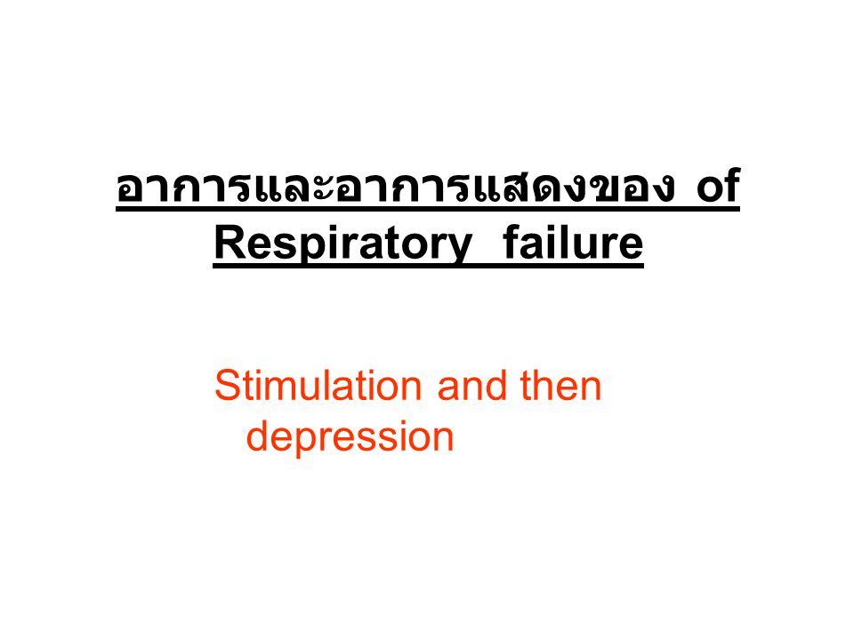 Stimulation and then depression อาการและอาการแสดงของ of Respiratory failure
